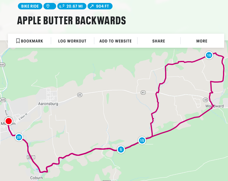 Apple Butter Backwards Route Map