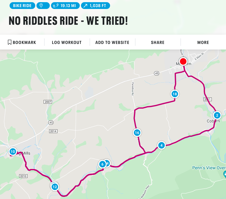 No Riddles Ride Route Map
